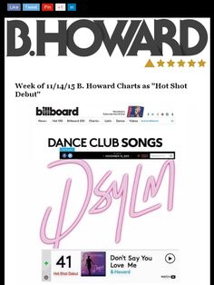 @bhowardofficial charts @billboard #dance #41 #hotshotdebut Check out this Mad Mimi newsletter