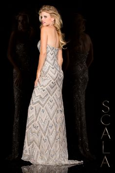 #SCALA Spring 2016 style 48585 Silver! #scalausa #spring2016 #prom2016 #gown #promdress #eveningwear #dress #sequins #specialoccasion #prom2k16 www.scalausa.com