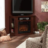 Claremont Convertible Media Cherry Finish Electric Fireplace fits in a corner or in a small space on a wall and your TV can be safely installed above it. www.elitedeals.com $649.99