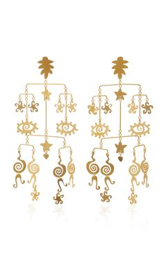 Gold-Plated Brass Mobile Earrings by Kalmar Women Jewelry, Fashion Jewelry, Body Adornment, Contemporary Jewellery, Latest Fashion For Women, Stone Jewelry, Designing Women, Statement Earrings, Jewelry Collection