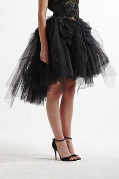 Lexi Faith Rosette Full Skirt in Black Tulle