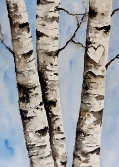 Name: Birch Tree Heart Size: 9 x 12 Medium: Watercolor Winsor & Newton Paper: 100% cold press paper acid-free. 140 lb. This is a custom piece. Each painting will be painted to the buyers liking. Send me all the info in a message for the names or the initials that will be custom painted