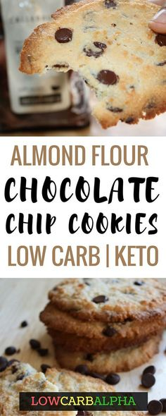 Keto Almond Flour Chocolate Chip Cookies https://lowcarbalpha.com/almond-flour-keto-chocolate-chip-cookies/ Healthy, grain-free low carb & keto friendly chocolate chip cookie recipe. Delicious, and easy to make #lowcarb #keto #lchf #lowcarbalpha