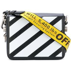 Off-White Diagonal Flap Bag (13.365.975 IDR) ❤ liked on Polyvore featuring bags, handbags, shoulder bags, black, leather strap purse, real leather purses, genuine leather shoulder bag, real leather handbags and leather shoulder bag