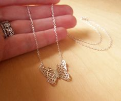 Silver Filigree Butterfly Necklace by tinysilver