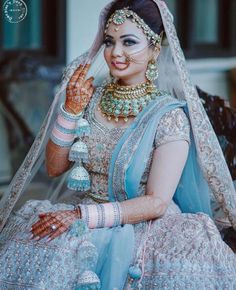 20 Quirkiest Wedding Trends For 2019 That Will Rock Indian Weddings! - 20 Quirkiest Wedding Trends For 2019 That Will Rock Indian Weddings! Indian Bridal Outfits, Indian Bridal Fashion, Indian Bridal Lehenga, Indian Bridal Wear, Blue Bridal, Bride Indian, Indian Wedding Jewelry, Asian Bridal, Bridal Jewelry