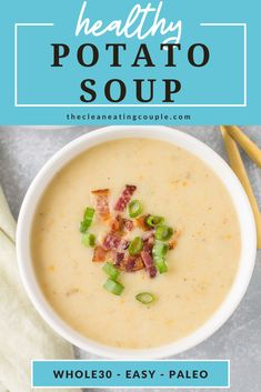 Healthy Potato Soup is total comfort food! Paleo, Whole30 + vegan, this easy creamy potato soup can be made on the stove, in the crock pot or instant pot. This clean eating soup is totally dairy free and vegetarian! I use coconut milk to get it super creamy, but you can use almond milk too! Healthy Potato Soup, Healthy Potatoes, Creamy Potato Soup, Healthy Soup Recipes, Crockpot Recipes, Vegetarian Recipes, Whole30 Recipes, Paleo Menu, Chili Recipes