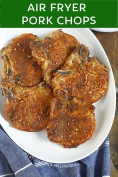 This easy Air Fryer Pork Chops recipe starts with a simple dry rub -- no breading -- and makes the best tender, juicy, flavorful pork chops in 20 minutes!