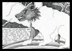 Bear on Grandma's Rug - Pen Drawing, Text: animals, window, words, tree.