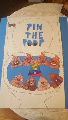 Pin the poop emoji party game