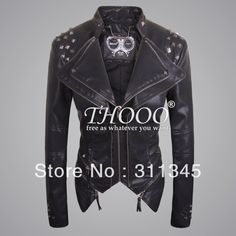 THOOO brands women's lady metal rivets  Faux  Sexy BLACK zipper Punk fashion pu leather motorcycle jacket coat oem  Square rivet £60.11