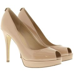 Michael Kors Pumps - York Platform Patent Dark Nude - in rose - Pumps... ($110) ❤ liked on Polyvore featuring shoes, pumps, heels, sapato, rose, heels stilettos, michael michael kors shoes, platform pumps, high heel stilettos and peep toe platform pumps