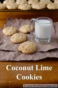 Coconut Lime Cookies--fresh lime juice and zest paired with sweetened coconut in a white chip cookie.