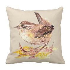 Watercolor Bird Cute Little House Wren Customize Throw Pillow - animal gift ideas animals and pets diy customize