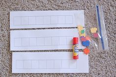 Patterning Grids (with grid sheet printable)- In each grid square, children glue a small paper cutout to make a pattern. Or have some made up already and have them copy the pattern. The small paper cutouts are made using craft punches.