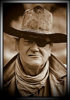 "Rooster Cogburn is a 1975 American Western starring John Wayne, reprising his role as U. Marshal Reuben J. ""Rooster"" Cogburn, and Katharine Hepburn. It is based on the Rooster Cogburn character created by Charles Portis in the novel 'True Grit'. John Wayne Quotes, John Wayne Movies, Hollywood Stars, Classic Hollywood, Old Hollywood, Hollywood Icons, Hollywood Glamour, Tv Westerns, Actor John"