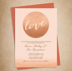 Rose gold wedding invitation | http://emmalinebride.com/planning/rose-gold-wedding-ideas/