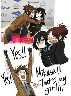 Read from the story Imágenes Ereri/ Riren by myfernajerosa (✨LalocaDelYaoi✨) with reads. Mikasa on ice Se que no es. Anime Meme, Dc Anime, Yuri Anime, Fanarts Anime, Attack On Titan Comic, Attack On Titan Ships, Attack On Titan Fanart, Mikasa, Ereri