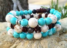 Howlite, Turquoise Magnesite, Shell and Lava