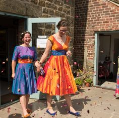 Custom made contrasting two-tone taffeta wedding dresses