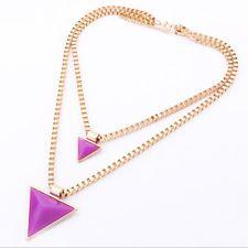 Korean Double Triangle Pendant Chunky Statement Choker Bib Necklace Gold Chain