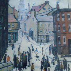 This is 'Bridge End Berwick Upon Tweed' Painted by LS Lowry in 1936