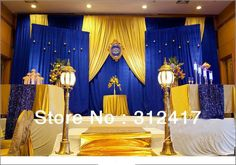 Royal blue and yellow wedding decorations top selling customized royal blue and gold backdrop for theme Gold Wedding Decorations, Backdrop Decorations, Wedding Themes, Wedding Colors, Wedding Ideas, Wedding Backdrops, Beauty And The Beast Theme, Beauty And Beast Wedding, Beauty Beast