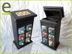 Portaspezie verniciato nero, con scrigno nella parte superiore. 6 cassetti in ceramica decorata. http://easy-online.it/it/shop/portaspezie/portaspezie-nero-nr-36/