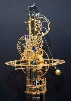 Astonishing and artful kinetic clocks created by Miki Eleta - Steampunk Daily Steampunk Kunst, Steampunk Clock, Steampunk Gadgets, Mechanical Art, Cool Clocks, Instruments, Kinetic Art, Sistema Solar, Antique Clocks