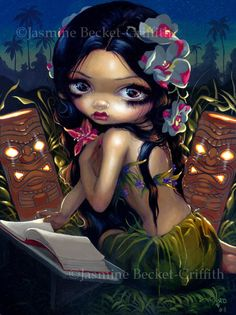 Amara and the Book polynesian hawaiian paradise fairy art print by Jasmine Becket-Griffith12x16 BIG on Etsy, $29.99