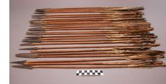 26 arrows from the body of one man on the Custer battlefield. Different types of fletching. Most are painted below fletching in red and/or blue. 66:2cm.