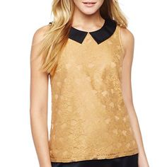 Black and Gold. Very on trend and the easiest way to avoid the green-and red combination which is a big no-no! Alyx® Metallic Lace Sweetheart-Neck Top - jcpenney