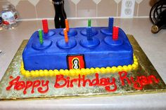 lego movie birthday | LEGO brick cake from our favorite bakery, which I topped off with LEGO ...
