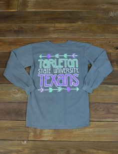 Follow your arrow all the way to Stephenville, TX where you will find Tarleton State University! Enjoy this Texans long sleeved Comfort Color t-shirt while showing your school spirit! GO Tarleton State!