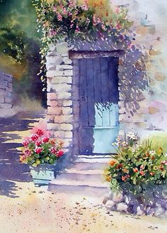 Watercolor - Sunlit Door with Geraniums by Ann Mortimer Watercolour Painting, Watercolor Flowers, Painting & Drawing, Watercolors, Watercolor Landscape Tutorial, Watercolor Artists, Painting Abstract, Acrylic Paintings, Watercolor Illustration