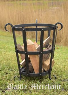 Forged Fire basket, approx. 45 cm high  Not only suitable for the medieval camp but also to for your garden or terrace. Even usable as barbecue. The pieces is hand-forged. All connections are riveted and welded 'hiddenly'. This maufacture and the large material thicknessess which have been chosen make this fire-basket superior to those cheap pieces made in far-east.  Details:  - Material: steel, black laquered  - Height: approx. 45 cm  - Diameter of the inner basket, top: approx. 36  cm…