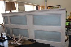 Old door as headboard! LOVE this project!