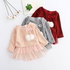 Toddler Baby Kid Dress Girls Long Sleeve Knitted Bowborn Tutu Princess  Dress Roupas De Menina ff4b24875e7