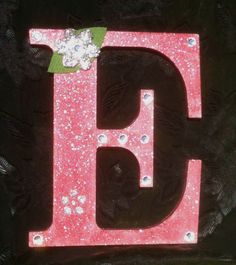 Wood Letter E, Cinnamon Glitter Red with Burlap Flower and Sequins by projectsbyGnG on Etsy