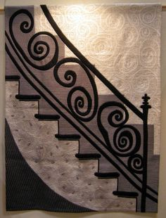 "Japanese quilt in black and white: ""New York"". 森村悦子 Etsuko Morimura. 22nd International Quilt Week Yokohama, 2014.  Photo by Queenie's Needlework"