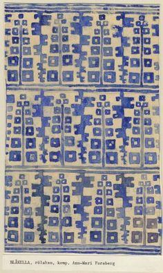 Rug design by ann-mari forsberg, or Motifs Textiles, Textile Patterns, Textile Prints, Color Patterns, Print Patterns, Ethnic Patterns, Lino Prints, Block Prints, Surface Design