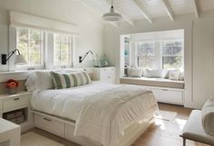 """Love the window seat and the ceiling detail. The furniture is too """"stark"""" for me. More color."""