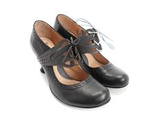 Fluevog Shoes | Shop | Mollie Johnson (Black & Grey) | Lace-Up Mary Jane Heel