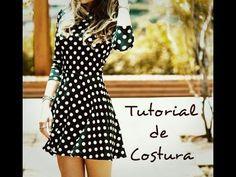 Tutorial de Costura Vestido de Malha com Saia Godê - YouTube