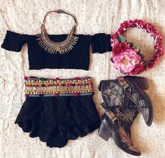 coin belt, lace shorts, cowgirl booties, crop off shoulder sleeve tee, floral headband