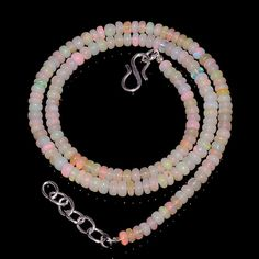 "49CRTS 4to4.5MM 18"" ETHIOPIAN OPAL RONDELLE BEAUTIFUL BEADS NECKLACE OBI11530 #OPALBEADSINDIA"