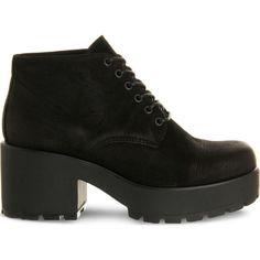 VAGABOND Dioon nubuck boots ($110) ❤ liked on Polyvore featuring shoes, boots, black nubuck, vagabond boots, black platform shoes, black laced shoes, lace-up platform boots and platform shoes