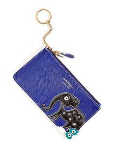 SALVATORE FERRAGAMO Leather Key Case with Elephant Applique.