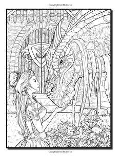 Dragons: An Adult Coloring Book with Mythical Fantasy Creatures, Beautiful Warrior Women, and Epic Fantasy Scenes for Dragon Lovers Dragon Coloring Page, Fairy Coloring Pages, Adult Coloring Book Pages, Christmas Coloring Pages, Coloring Pages To Print, Printable Coloring Pages, Coloring Books, Kids Coloring, Coloring Sheets