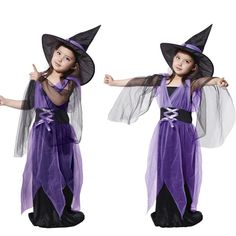 Fancy Fairy Tale Witch Dress With Hat Multilayer Mesh Dresses Children's Halloween Roleplay Apparel